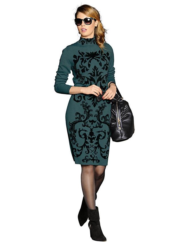 ALBA MODA VERDE Трикотажное платье с жаккардовым узором. Интернет-магазин
