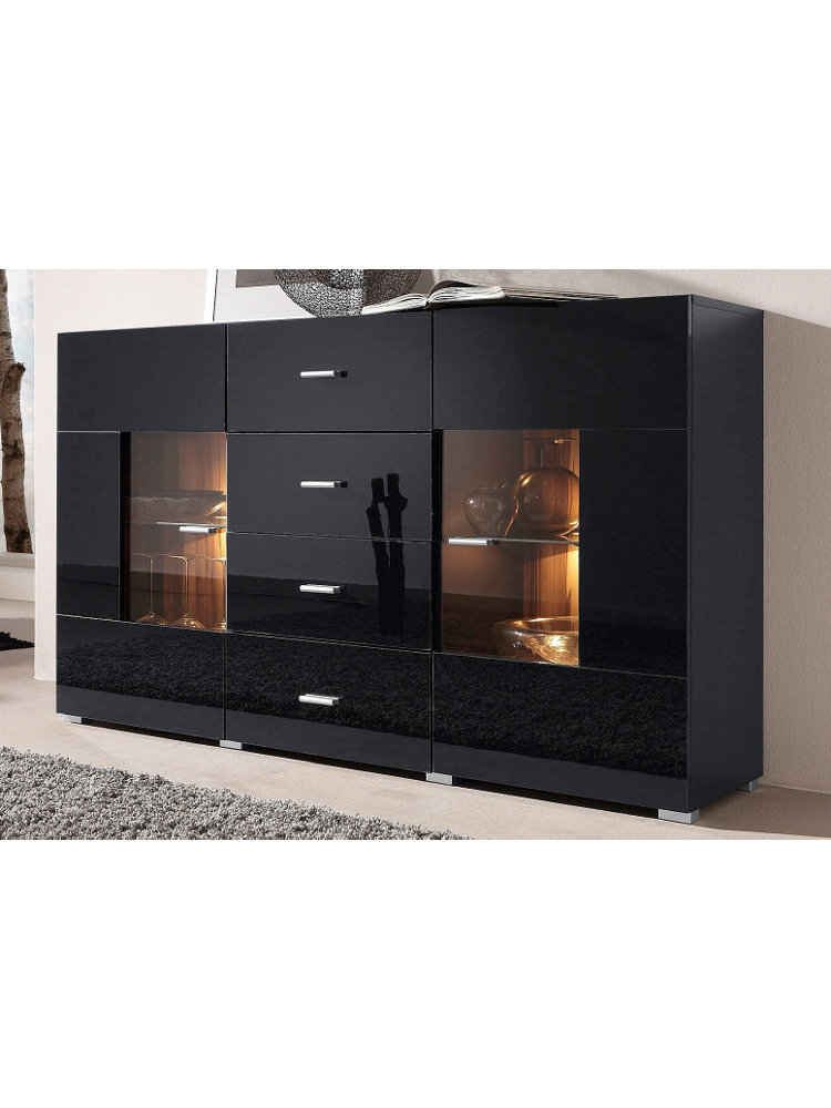 sideboard breite 150 cm schwarz nussbaumfb im heine online shop kaufen. Black Bedroom Furniture Sets. Home Design Ideas